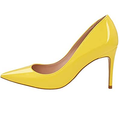 LOVIRS Womens Office Basic Slip on Pumps Stiletto Mid-Heel Pointy Toe Shoes for Party Dress Yellow Size: 4