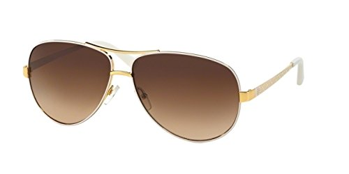 Tory Burch Women's TY6035 Ivory Gold/Brown Gradient Sunglasses