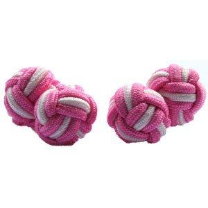 Vibrant Pink & White Silk Knot Cufflinks | Cuffs & Co
