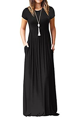 IRENE INEVENT Women's Short Sleeve Maxi Dress with Pockets Plain Loose Swing Casual Floor Length Long Dresses