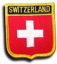 "Switzerland Flag Patch/International Travel Shield Badge by Backwoods Barnaby (Swiss Crest, 2.75"" x 2.35"")"