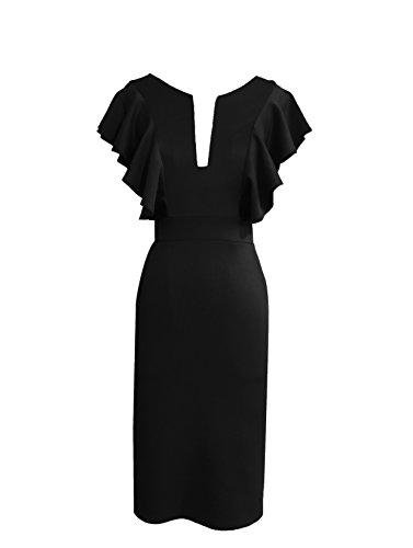 Gypsophila Women's Elegant and Ruffled Sleeve Pencil Dress (XL, Black)