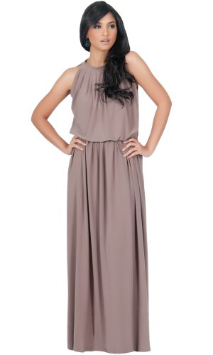 Koh Koh Womens Long Sexy Sleeveless Summer Formal Flowy Casual Gown