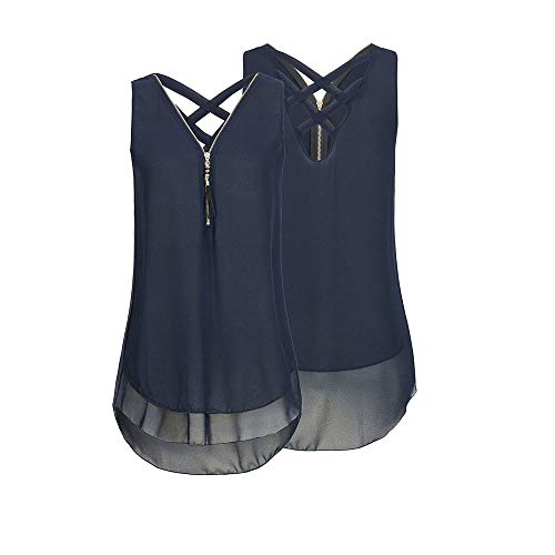iYBUIA Women Loose Sleeveless Solid Tank Top Cross Back Hem Layed Zipper V-Neck T Shirts ()