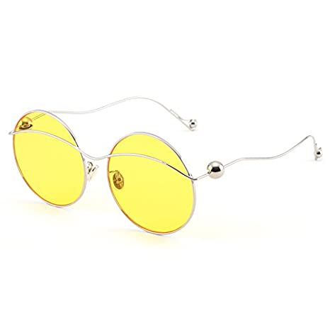 2d8ba880b9 VVIIYJ Gafas de Sol Transparentes decoración Gafas de Sol Ocasionales Gafas  de Sol Cara Redonda Larga,Marco de Plata a través de la película Amarilla:  ...