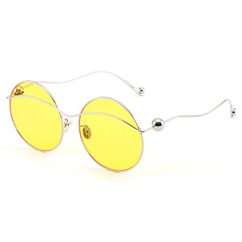 Larga Oro Silver Transparentes De Sol Transparente Ocasionales marco Redonda Through Cara Frame Yellow Decoración Film Gafas Vviiyj Película wS8fq