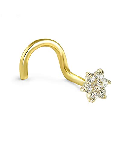 14k Yellow Gold Nose Stud Ring Screw 4.5mm Christina Flower Cluster 20G ()