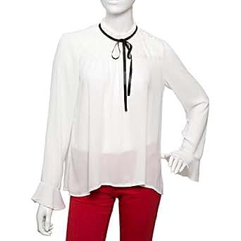 Parkhande White Polyester High Neck Blouse For Women