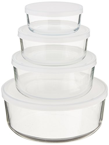 Bormioli Rocco Frigoverre Round Glass Food-Storage Containers with Frosted Lids, Set of 4