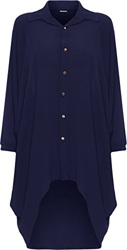 Taille Longue Dames Bleu Femmes Trempette Salut Grande Robe Batwing WearAll Ourlet Robes Collier 54 Bouton Femmes Il 44 Royal Tailles Chemise Manche REwfqRY6