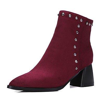 CN39 Moda RTRY Chunky Tobillo Mujer US8 Botas Botines Toe Sobre Remache De Polipiel Talón Botas Invierno Rodilla Botas Zapatos Señaló UK6 EU39 Casual Botas La wn68nS