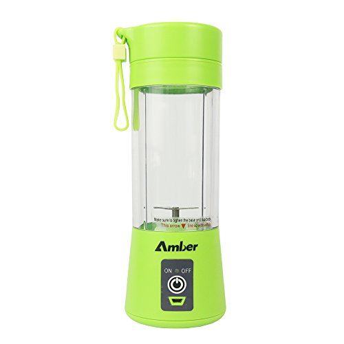 Amber Mix - 380ML Smoothie Blender, Portable Mixer, Protein Shaker Bottle, Blender for Baby Nutritional Food, Smoothies, Milk-Shake and Fruit Juice, Green