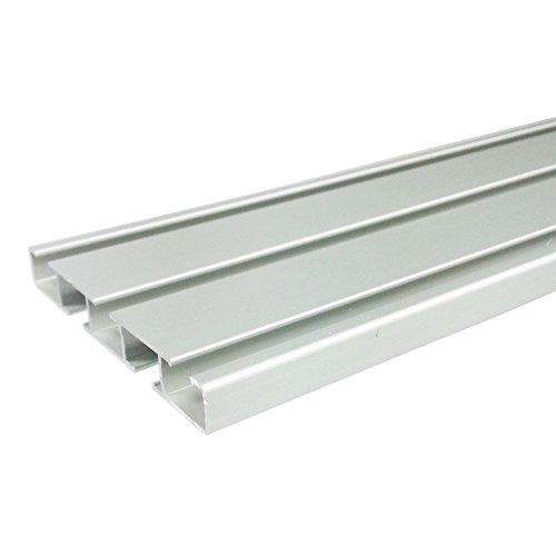 Aluminium Vorhangschiene Gardinenschiene weiß/alu Wendeschiene 2/3 läufig bis 5m (200cm (zwei teilig mit Verbinder), aluminium eloxal)