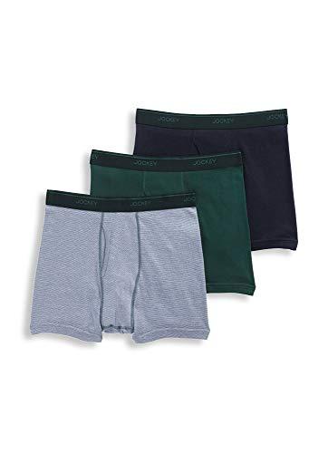 Jockey Men's Underwear Staycool Boxer Brief - 3 Pack, Black/Trusty Green/White and Rough Sea Stripe, L (Best Stay Cool Underwear)