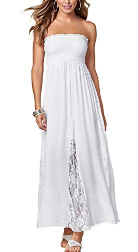 Jusfitsu Women's Tube Top Strapless Floral Lace Evening Party Dress Cotton Long Maxi Dresses White XL