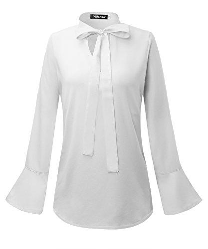 Chemiser Femme Soie Bowknot V Col Top Blouse Chic Chemise lgant Blanc Manches Casual de Fluide Longue Mousseline 6qzndwg