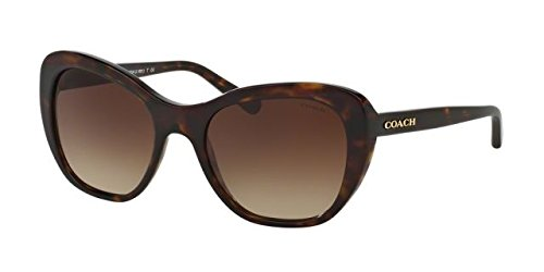 Coach Women's HC8204 Sunglasses Dark Tortoise / Brown Gradient - Tortoise Coach Sunglasses