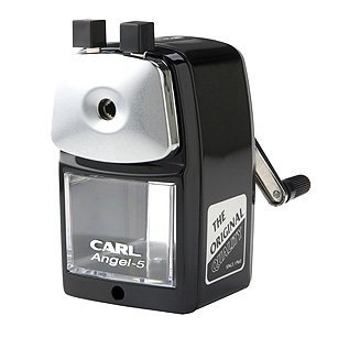 Classic Manual Pencil Sharpener. BLACK. Heavy Duty but Quiet for Office and Home Desks, School Classroom. Carl A-5 Angel
