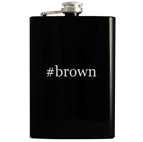 - #brown - 8oz Hashtag Hip Drinking Alcohol Flask, Black