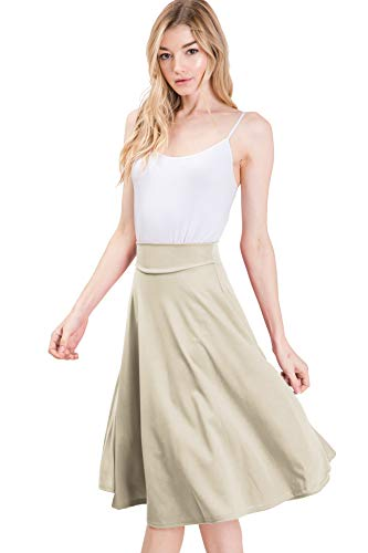 CLOVERY Elastic Waist Flare Pleated Skater Midi Skirt for Women with Plus Size, Ivory 2XL Plus Size