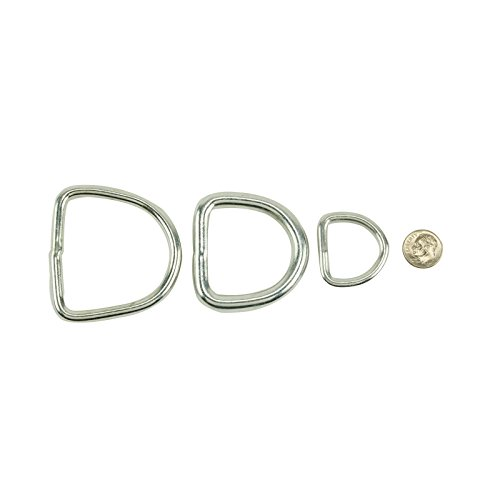(Zinc Plated Steel Butt-Welded D-Ring - Choose from 3 Sizes - Belts, Dog Collars & Harnesses, Tie Downs)