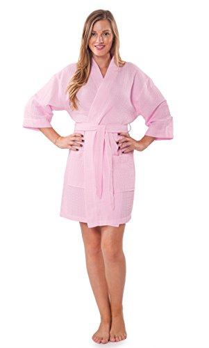 Turquaz Linen Lightweight Knee Length Waffle Kimono Bridesmaids Spa Robe (Small/Medium, Pink) ()