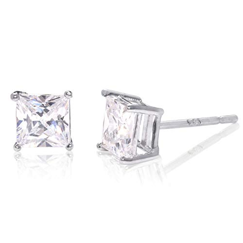 5mm white Cubic Zirconia .925 Sterling Silver Basket Setting Unisex Stud Earrings ()