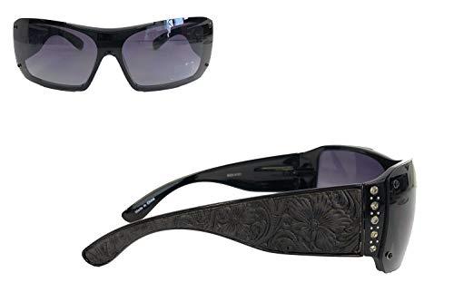 Montana West Ladies Sunglasses Rhinestones Vintage Floral Leather Tooling UV400, Black Frame Black ()