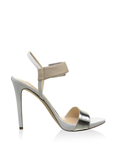 Argento Silver Flabb2lea03 abbie2 Donna Guess Bianco Sandalo Beige Pelle Vernice xaRg0z8qw