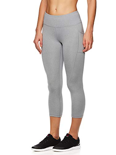 (Reebok Women's Printed Capri Leggings with Mid-Rise Waist Cropped Performance Compression Tights - Grey Stone Heather, Small)