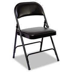 - Alera Steel Folding Chair With Padded Back/Seat, Graphite, 4/Carton