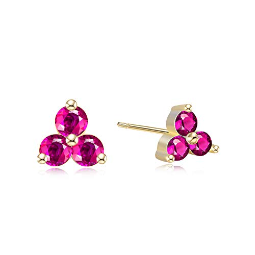 Simulated Ruby Cubic Zirconia Trio Studs - 18k Gold over Sterling Silver 3 Stone Cluster Stud Earrings
