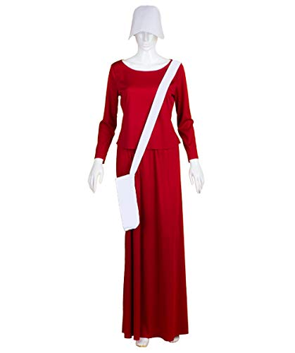 Adult Womens Red Dress Handmaid Costume with Bag and Bonnet HC-227