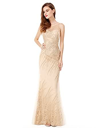 Ever-Pretty Womens Illusion Neckline Long Shimmery Prom