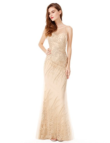 Ever-Pretty Womens Illusion Neckline Long Shimmery Prom Dress 10 US Gold