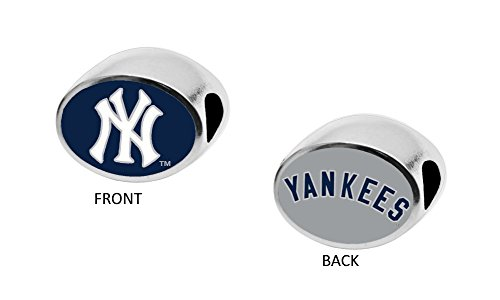 New York Yankees 2-Sided Bead Fits Most Bracelet Lines Including Pandora, Chamilia, Troll, Biagi, Zable, Kera, Personality, Reflections, Silverado and More Charm Bead Fits Pandora Style Bracelets (Charm Silverado Bead)