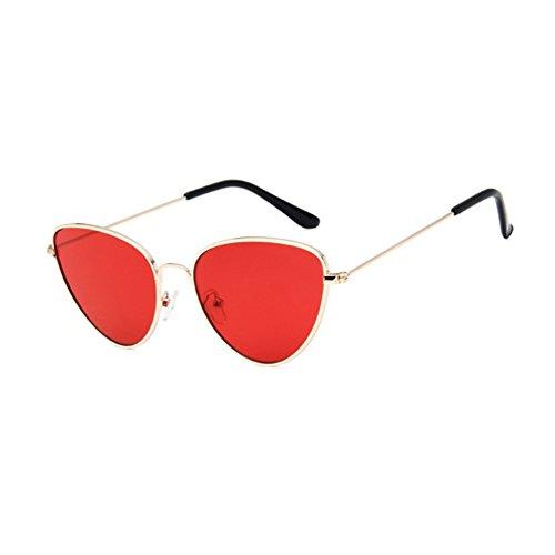 Retro Marco de Ojo de Dorado de Sol Gafas Colores LINNUO Gato Marco Hombres Metal Rojo Eyewear Mujer Aviador Unisex Sunglasses wFRqSW178