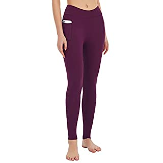 MOVE BEYOND Women's Butt Lifting Yoga Leggings with Side Pockets Lightweight Full Length Stretch Tummy Control Workout Gym Pants, Amaranth, M
