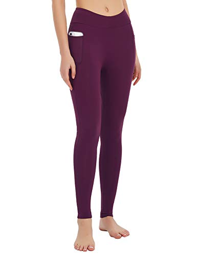 MOVE BEYOND Women's Butt Lifting Yoga Leggings with Side Pockets Lightweight Full Length Stretch Tummy Control Workout Gym Pants, Amaranth, XL