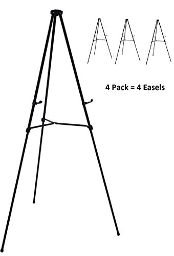 Pack of 4 Lightweight Aluminum Telescoping Display Easel, Black (4 pack) (Easel Aluminum Telescoping)