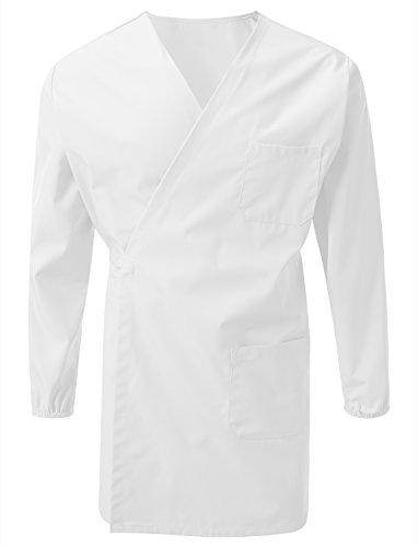 7Encounter Unisex Multifuctional Wrap Smock With Chest And Side Pockets White Size S/M Wrap Around Smock
