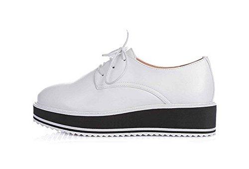 Amoonyfashion Kvinnor Låga Klackar Fast Snörning Mjukt Material Rund Sluten Tå Pumpar-shoes Vitt