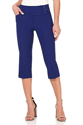 Rekucci Women's Ease into Comfort Wide Waist Capri with Back Lacing Detail (6,Sapphire)