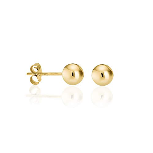 Waldenn 14k Gold Plated Sterling Silver Ball Bead Stud Earrings | Model ERRNGS - 13142 | 6mm