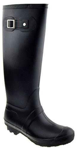 Valentina 02 Round Closed Toe Slip on Rain Boots Rubber Black DX0dhNfFBr