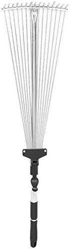 Cuque Garden Rake, Garden Telescopic Rake Adjustable Folding Grass Leaves Rake Garden Cleaning Tool