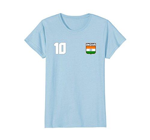 Womens INDIA T-shirt Indian Tee Retro Soccer Football Small Baby (Indian Football Teams)