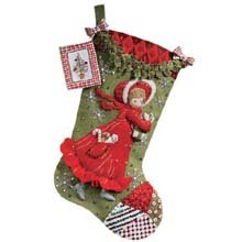 Bucilla 18-Inch Christmas Stocking Felt Applique Kit, 86144 Holly Days