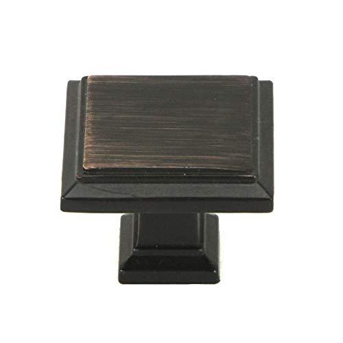 - Kingsman Roma Series 1-1/4 in. (32mm) Modern Square Shape Soild Zinc Alloy Kitchen Bathroom Cabinet Dresser Closet Door Furniture Knob Pulls (25 Piece, Oil Rubbed Bronze)