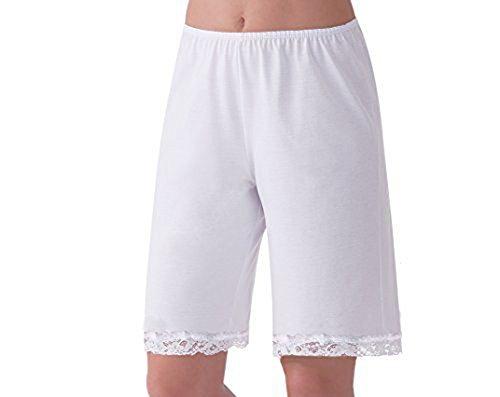 (Allshope Women Pettipants Nylon Culotte Slip Bloomers Split Skirt (White, 2XL))